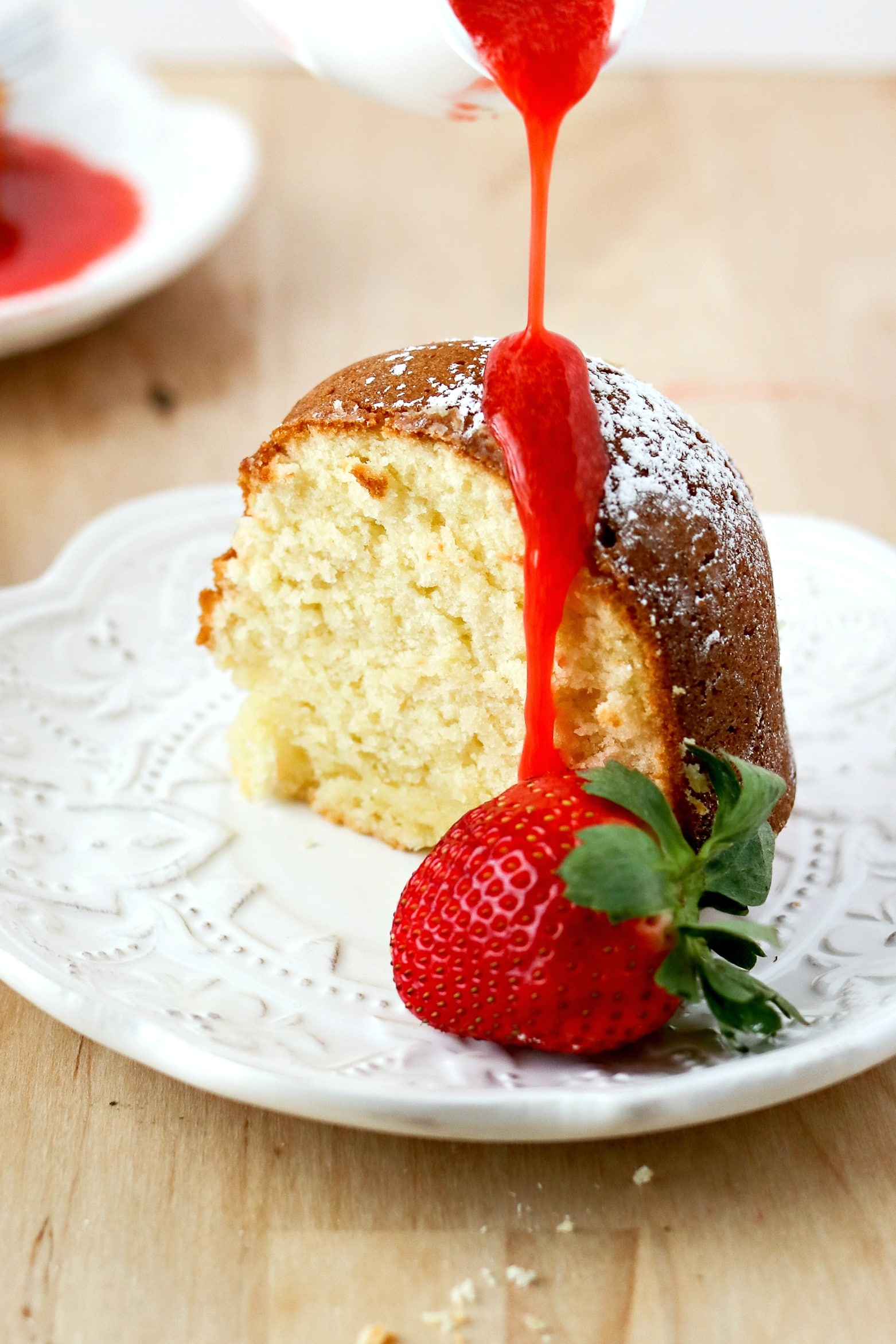 strawberry cream cheese cake cheese pound cake with strawberry coulis 7745